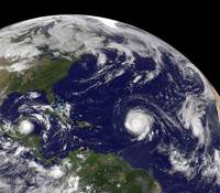 Three tropical cyclones active in the Atlantic Oce