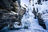 Frozen Lower Falls in Johnston Canyon in Banff Nat