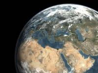 Global view of earth over Europe, Middle East, and