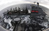 Replenishment at sea between USNS Rappahannock and