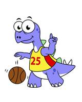 Illustration of a Stegosaurus playing basketball