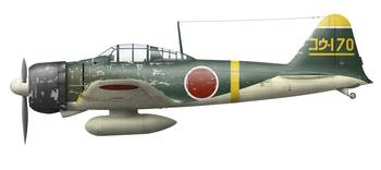 Illustration of a Mitsubishi A6M2 Zero fighter pla