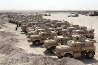 Mine Resistant Ambush Protected vehicles at Camp T