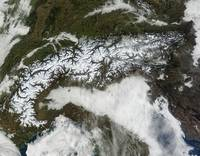 Satellite image of The Alps mountain range