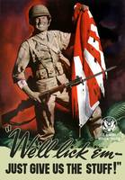 Vintage World War II poster of a soldier on the ba