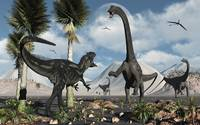 A carnivorous Allosaurus confronts a giant Diplodo