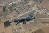 An F-16 Fighting Falcon in flight over Luke Air Fo