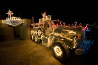 Cougar MRAP is adorned in holiday lights parked in
