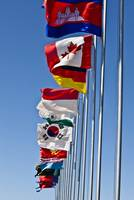 A line of flags represent the countries taking par
