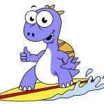 """Illustration of a surfing Spinosaurus"" by stocktrekimages"