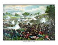 Civil War painting of Union and Confederate troops