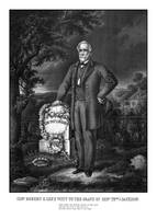Civil War print of General Lee visiting the grave