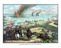 Civil War print showing the Naval Battle of the Mo