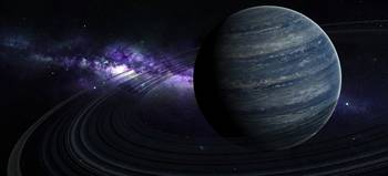 Artists concept of a blue ringed gas giant in fron