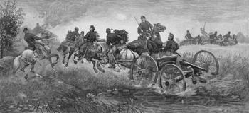 Vintage Civil War print of a team of horses pullin