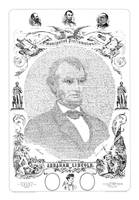 Portrait of Abraham Lincoln formed from the words