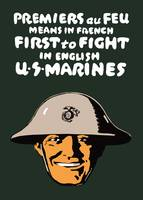 Vintage World War One poster of a smiling Marine