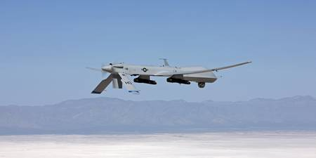 An MQ-1 Predator flies a training mission over New