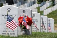 American flags placed in the front of headstones a