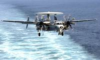 An E-2C Hawkeye prepares for an arrested landing