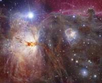 Horsehead Nebula region in infrared and visible li