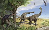 A raptor stalks a pair of grazing Europasaurus hol