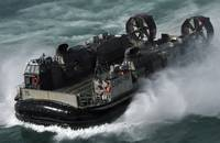 A US Navy Landing Craft Air Cushion heading to the