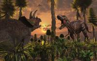 Tyrannosaurus Rex and Triceratops meet for a battl