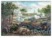 Vintage Civil War print of the Battle of Cold Harb