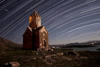 Star trails above Dzordza church, Iran