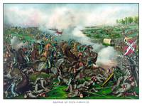 Vintage Civil War Print of the Battle of Five Fork