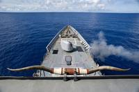 USS Cowpens fires its Mk 45 Mod two gun