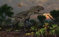 Prehistoric dinosaurs roam freely where time stand