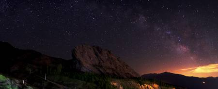 Starry night sky above Alamut castle, Qazvin Provi