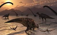Omeisaurus and Parasaurolphus dinosaurs gather tog