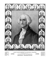 Vintage print of the first twenty-three Presidents