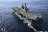 The amphibious assault ship USS Kearsarge transits