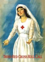 Vintage World War I poster of a Red Cross nurse ho