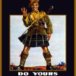 """Vintage World War I poster of a soldier holding up"" by stocktrekimages"