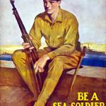 """Vintage World War I poster of a U.S. Marine sittin"" by stocktrekimages"