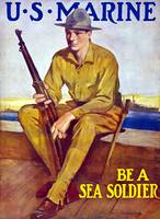 Vintage World War I poster of a U.S. Marine sittin