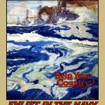"""Vintage World War I poster of battleships at sea"" by stocktrekimages"
