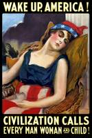 Vintage World War I poster of Lady Liberty sleepin