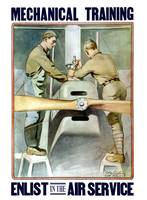 Vintage World War I poster of two airmen working o