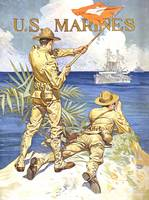Vintage World War I poster of two marines signalin