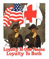 Vintage World War I poster of two soldiers holding