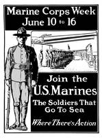 Vintage World War I poster showing a Marine standi