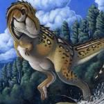 """Tyrannosaurus Rex running through water"" by stocktrekimages"