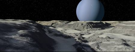 Uranus seen from the surface of its moon, Ariel