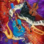 """Jazz Music Instruments Colorful Art Juleez"" by JuleezArt"